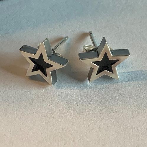 Star Studs with Black Enamel Center