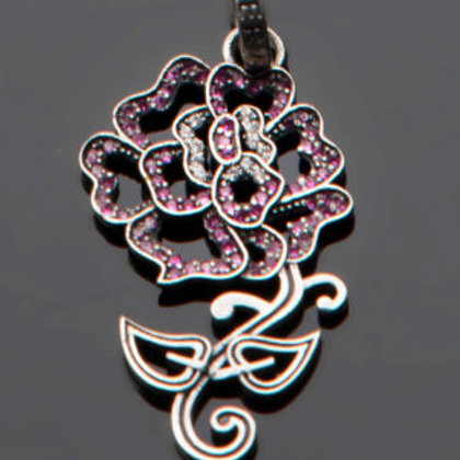 Rose Tattoo Pendant in Pave Cubic Zirconia