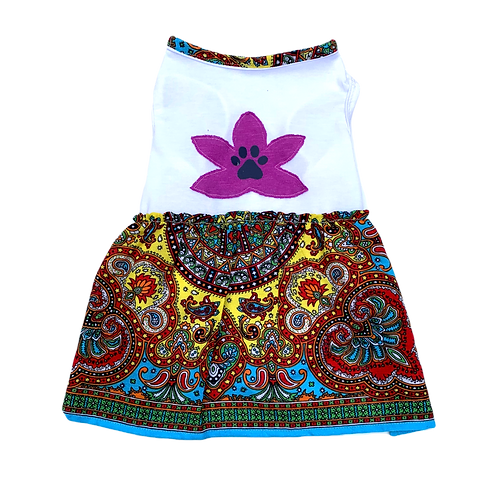Mandala Dress -Blue Trim
