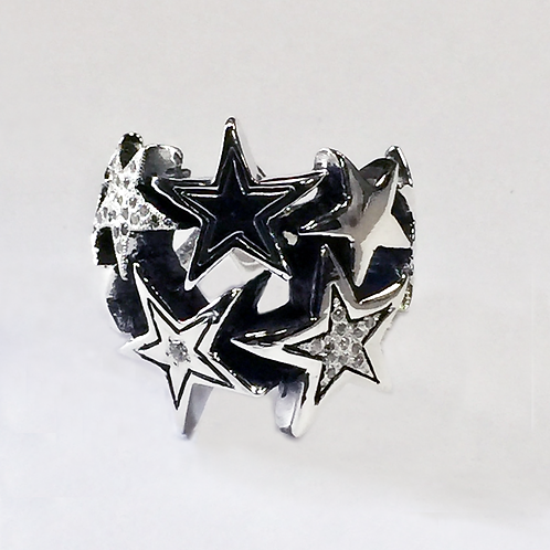 Large Starburst Constellation Ring with Pave Cubic Zirconia starts at