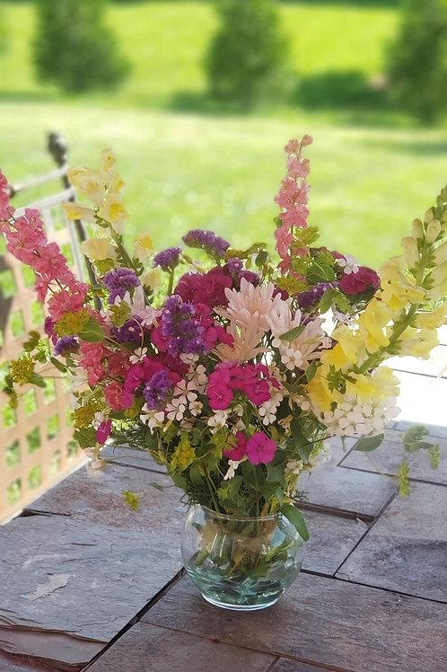 IN GLAS VASE Fresh cut, locally grown, farmers market, flower bouquets