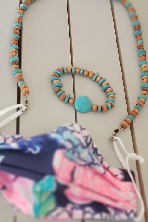 Mask keeper doubles as necklace - includes matching bracelet
