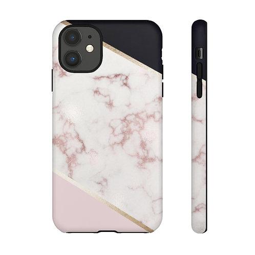 Rose Gold Marble + Black Tough Case