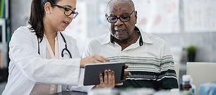 Doctor meeting with a senior client