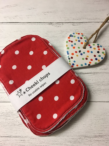 Reusable wet wipes-washable cloth wipes-Red polka dot