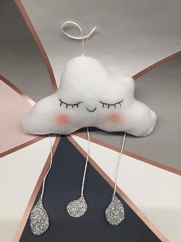 Sleepy baby rain cloud wall hanging