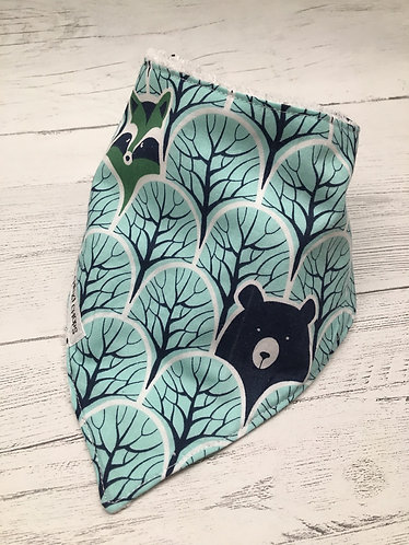 Turquoise woodland print absorbent bandanna dribble bib