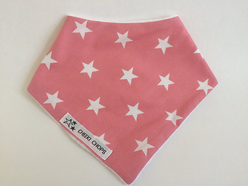 Dribble bib 'PINK STARS' Thick towling backing