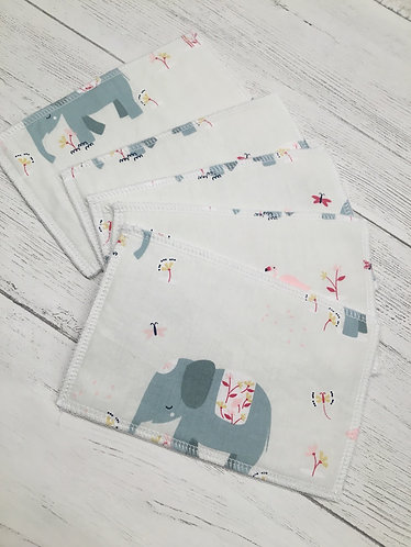 Reusable cotton wet wipes- pastel elephants-Eco friendly
