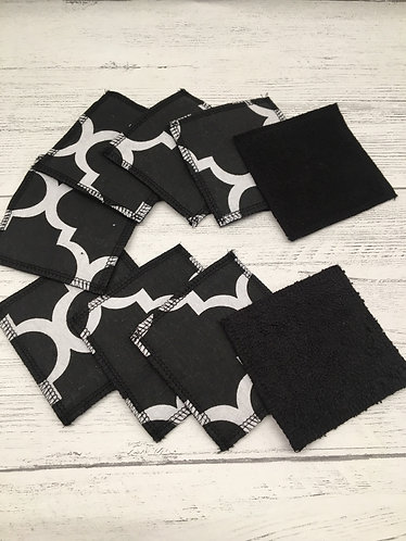 Monochrome reusable cotton face pads-square- black soft backed