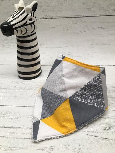 Yellow and grey triangle print absorbent bandanna dribble bib