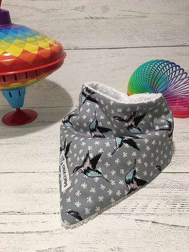 Dribble bib 'GREY BIRD PRINT' backed with soft terry cloth