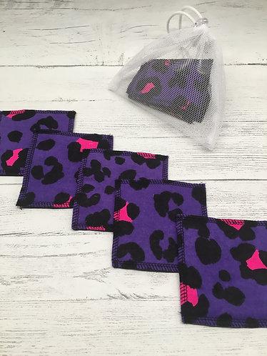 Reusable cotton face pads-Square-Purple animal print