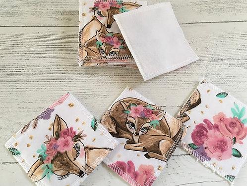 Eco reusable cotton face pads -square-Deer print