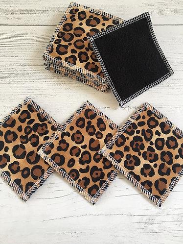 Reusable cotton face pads -square-leopard print -black backed