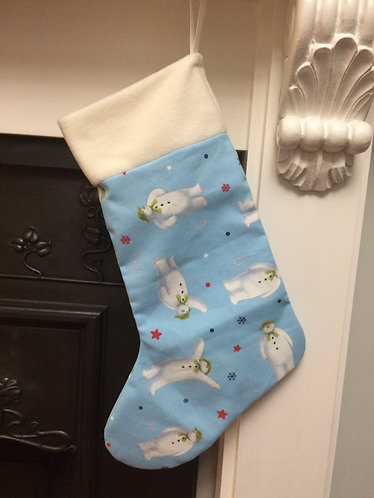 Snowman inspired christmas stocking