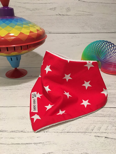 Dribble bib 'RED STARS' backed with terry cloth