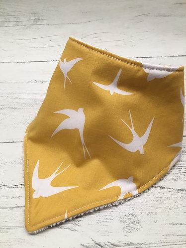 Yellow bird print absorbent bandanna dribble bib