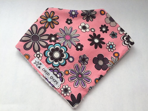 Dribble bib 'PINK 'HIPPY CHIC' backed with 100% cotton