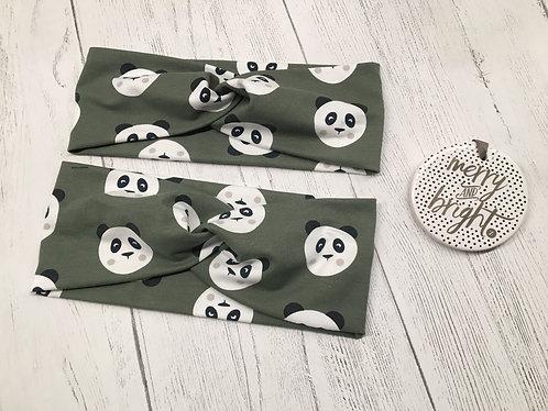 Turban twist headband panda print khaki green