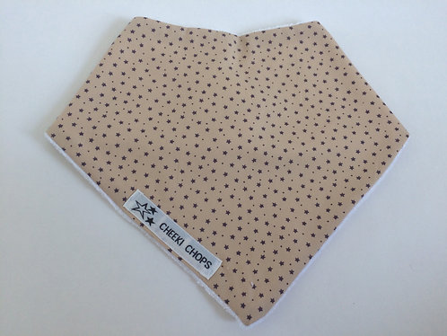 Cheeki Chops dribble beige bib 'BEIGE DITSY STARS' backed with thick towling