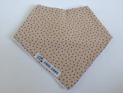 Cheeki Chops beige dribble bib 'BEIGE DITSY STARS' backed with 100% cotton