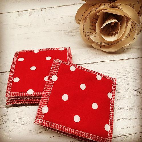 Handmade reusable cotton face pads-Eco friendly-Polka dot print