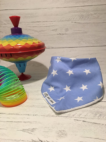 Dribble bib 'BLUE STARS' backed with soft terry cloth