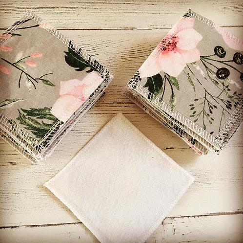 Reusable cotton cleansing pads-Floral print
