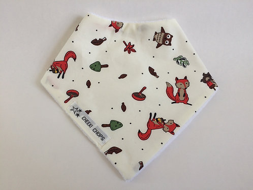 Woodland foxes bandanna bib-Cotton front and reverse