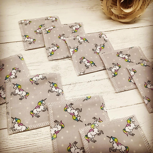 Facial cleansing pads-Unicorn print -square- reusable face pads