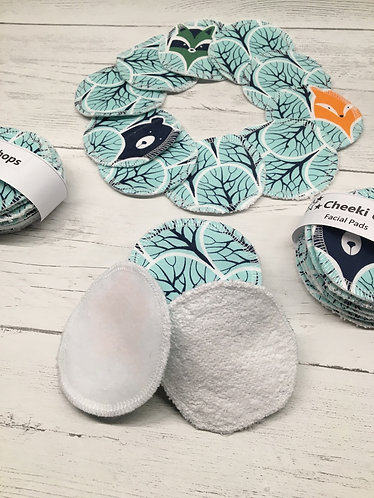 Handmade washable and reusable cotton face pads- white backed-Woodland print