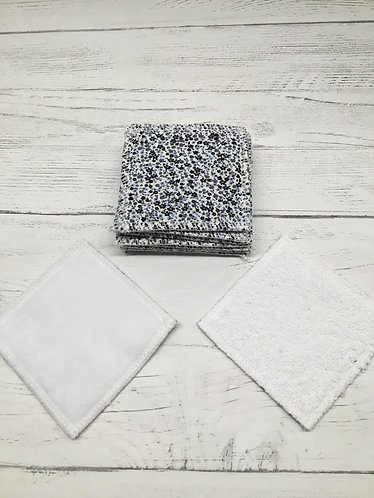 Handmade reusable cotton face pads --washable-white blacking-Ditsy print