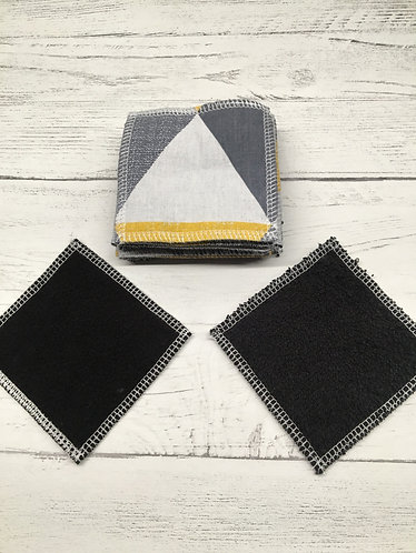 Handmade reusable cotton face pads-Eco-square black backed