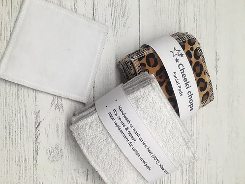 Handmade Eco reusable cotton face pads -square -white backed-animal print