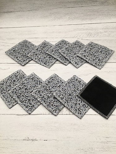 Reusable cotton facial cleansing pads-black soft backing