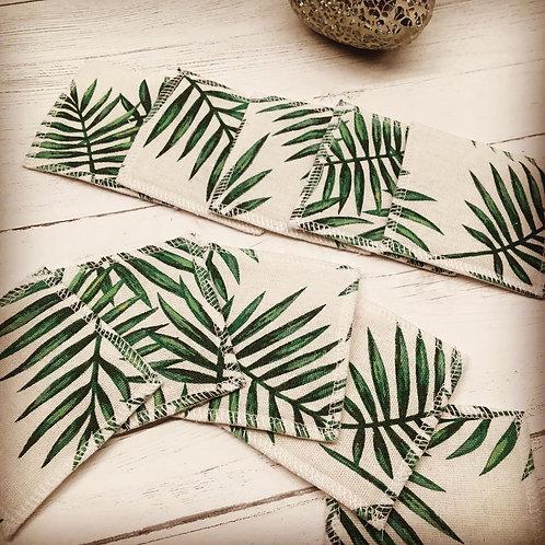 Eco friendly reusable cotton face pads -square blk-Leaf print