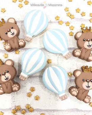 Bear and Hotair balloons customised macarons