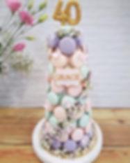 Pastel Baby Breath Round Macaron Tower