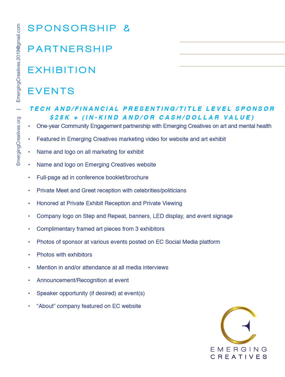 Emerging Creatives Sponsorship Sponsorsh