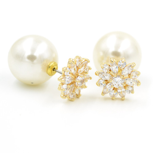 p double ebay s stud gold faux earrings women sided mother gift plated ear pearl
