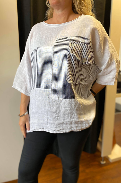 Linen Abstract Top