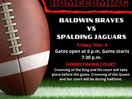 Homecoming Game Friday November 6 Against Spalding Jaguars