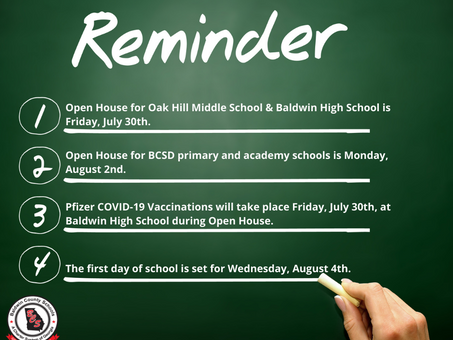 Back to School Reminders: Open House, Vaccinations, First Day of School