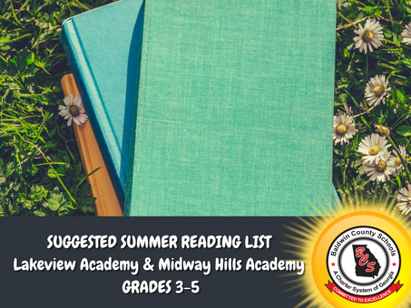 Lakeview Academy and Midway Hills Academy Suggested Summer Reading List