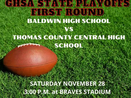 GHSA Playoff Football Tickets on Sale: Baldwin High vs Thomas County Central High School