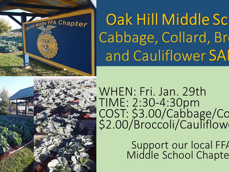 Oak Hill Middle School FFA Cabbage, Collard, Broccoli & Cauliflower Sale