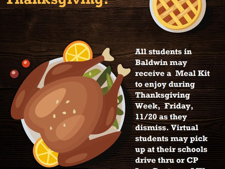 Thanksgiving Break Meal Kits Available for All Students Friday During Dismissal