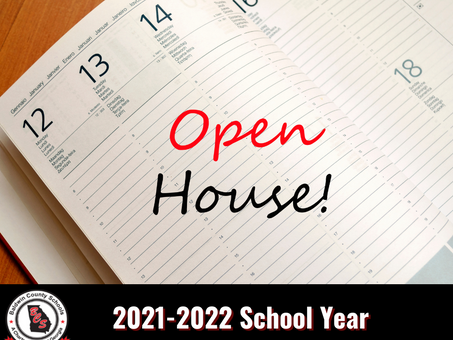 Open House Dates for the 2021-2022 School Year