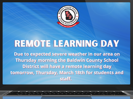 Remote Learning Day for all Baldwin Schools on Thursday